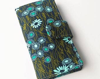 Womens Wallet, Fabric Clutch, Handmade Wallet, Navy and Olive Flowers
