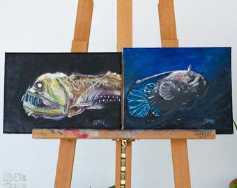 Deep Sea Creatures Oil Painting - 'Abyss' - set of 2 contemporary art paintings