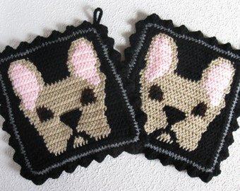 French Bulldog Pot Holder Set. Black, crochet potholders with fawn bulldogs