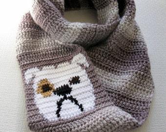 Bulldog Scarf. Chunky crochet circle scarf with English bulldog. Dog infinity scarf.