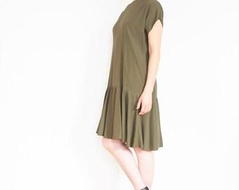 90s Olive Green Drop Waist Peplum Dress