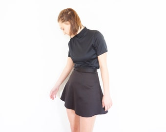 90s Black Satin A-Line Mini Skirt / Up Cycle Skirt / Size XS-Small
