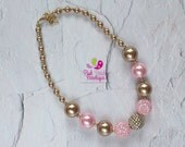 Pink and Gold Chunky Necklace, Pink and Gold Baby Necklace, Pink and Gold Necklace, Pink and Gold Baby Necklace,  Baby Girls Jewelry, Bubble