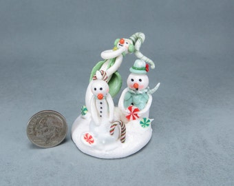 Handcrafted Miniature Fairy Snowman Family OOAK by O'Dare