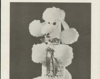 Sweet Vintage 1960s Coats & Clark W-777 Perky Poodle Crocheted Bottle Cover Crochet Pattern