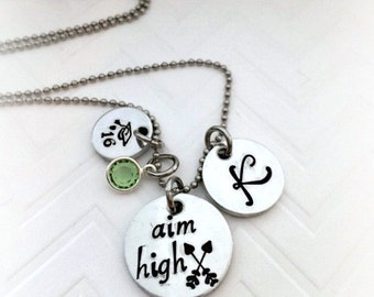 Graduation Necklace 2017  Aim High - Arrow Graduation Necklace - Aim High - The Charmed Wife  - Personalized Graduation Gift - Class of '17