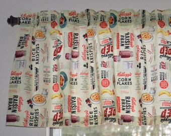 Kitchen Valance . Kellogg's Breakfast Cereal Retro Print . Custom Curtains  . Handmade by Pretty Little Valances