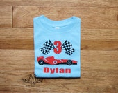 Personalized race car birthday t shirt for boys, race car party shirt