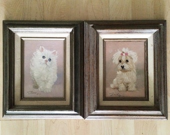 Kitten & Puppy Vintage 50s 60s Original Oil Paintings Framed on Canvas Cute Cool Cat Dog Home Decor Wall Art Pale Pink Blue Pastel Colors SM