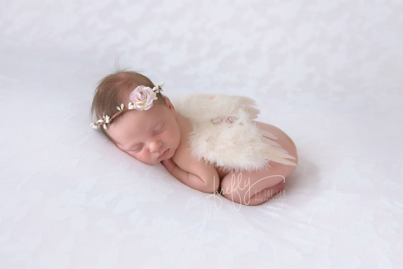Vintage Blush Angel Baby Feather Wings & Twig Rose Halo set, for a newborn infant, bebe foto, photographer, by Lil Miss Sweet Pea