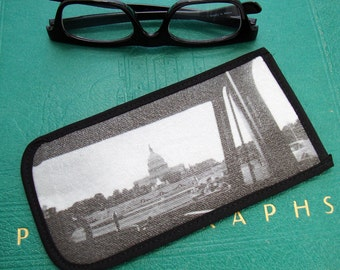Eyeglass Case with Vintage Photo: US Capitol through Tour Bus Windshield, c. 1940