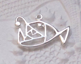 Angler Fish Charm Pendant STERLING SILVER 10x15mm Openwork Sea Ocean
