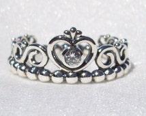 Pandora My Princess Ring Prom High Fashion Cz Designer Tiara Glam Ring Genuine FREE SHIPPING Includes Pandora Plush Ring Box