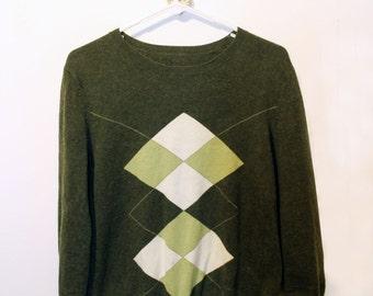 Women's Vintage Olive, Sage Green & Cream Argyle Sweater