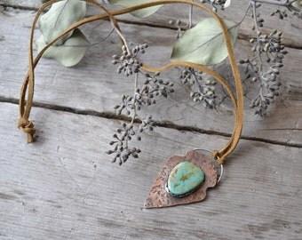 arrowhead necklace // textured copper // pilot mountain turquoise