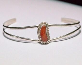 SALE Vintage Sterling Silver Coral Navajo Native American Southwestern Cuff Bracelet