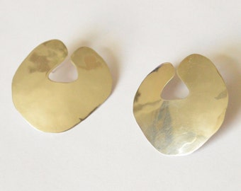 SALE Vintage Sterling Silver Large Flat Modernist Style Abstract Pierced Earrings