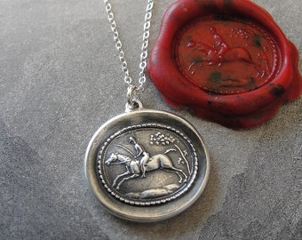Equestrian Wax Seal Necklace - horse and rider antique wax seal jewelry - field riding steeplechase