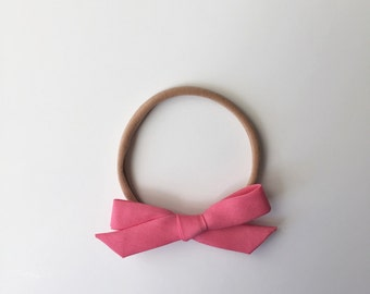 The Rose Pink Classic Tied Bow Headband or Clip
