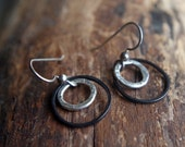 Fine silver and blackened brass modern geometric dangles - Minimalist textured circle earrings - Silver and black
