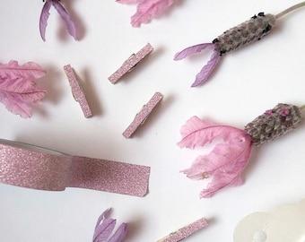 Pegs - Purple Glitter Mini Peg || Purple Glitter Clothes Pins