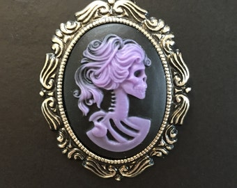 Lolita Skeleton Lady Purple Cameo Gothic Necklace Pin Brooch