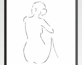 Minimalist art print. Sitting nude from back. Black and white drawing for home decor. Nude sketch.