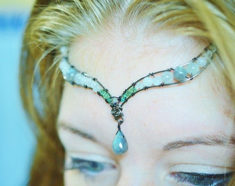 Labradorite Aquamarine and Rainbow Moonstone Tiara - One of a Kind - Princess crown - Wedding Tiara - Swarovski Crystals - Green and Blue