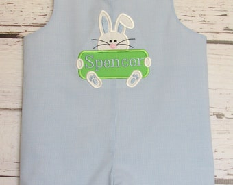 Baby boy Easter Bunny Applique Shortall Longall Jon Jon Romper Spring Photos Personalized
