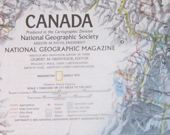 MAP OF CANADA 1972 National Geographic National Geographic Society Map 1972 Canada, Ice Age Mammals