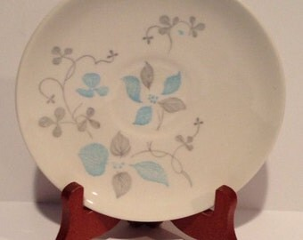 Royal China Venice pattern 6 inch saucers  blue and gray floral print