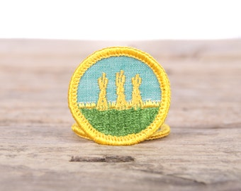 """Vintage Girl Scout Patch / 1970's Scout Patch / Outdoor Safety Badge / Farming Hay Stacks Patch / 1.5"""" Girl Scouts Patch / Scout Badge"""