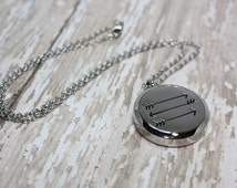 Essential Oil Diffuser Necklace- Aromatherapy Necklace- Stainless Steel Pendant- Stainless Steel Aromatherapy Necklace- Arrows Necklace 30mm
