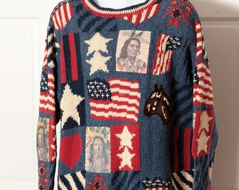 Vintage 90s Americana Busy Knit Sweater - Cambridge Country Store - Native American Indian Horse Flag - L
