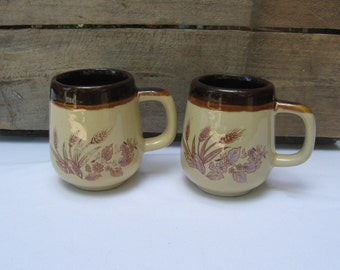 Stoneware Mugs, Wheat Pattern Coffee Cups, Set of TWO, Brown Wheat Pattern Coffee Mugs, Vintage Cups MyVintageTable