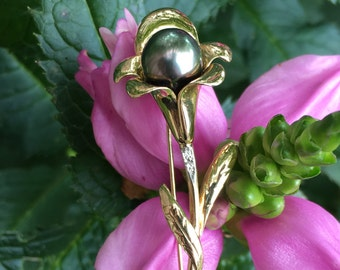 Vintage 14k Gold Diamond Tahitian Pearl Flower Brooch Pin
