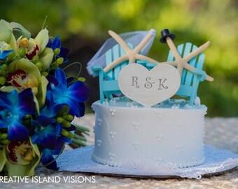Personalized wedding beach chair cake topper-beach chairs-blue-starfish bride and groom-beach wedding-destination-tropical-themed-nautical