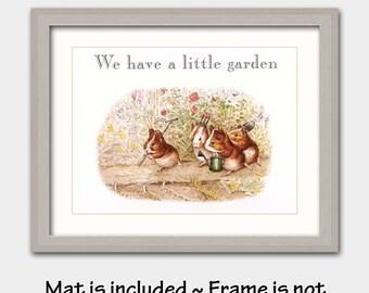 "Garden Nursery Art w/Mats, Beatrix Potter Art Prints (Nursery Boy Decor, Nursery Girl Decor)  ""We Have a Little Garden"""