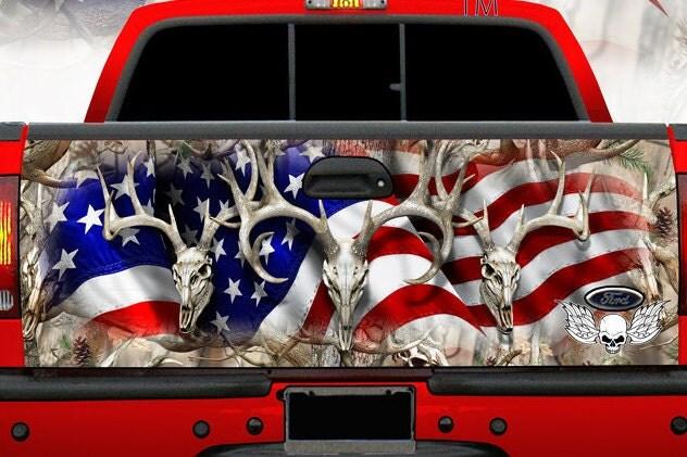 American Flag Tailgate Wrap Patriotic Buck Deer Cowboy Camo