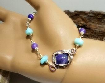 Peruvian Blue & Purple Opal Bracelet, Hand cut stone, handmade silversmith bezel, ALL Sterling Silver,Womens gift, under 70 gift, Gemstones