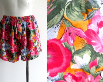 80s Silk Boxer Beach Shorts - L