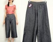 Handmade women jeans cropped, mid-calf length vintage dark denim Samll, Medium, Large [Castello pants/summer dices]