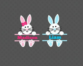 Easter Bunny Svg, Easter Svg, Easter Split Svg, Easter Monogram Svg, Bunny Svg, Silhouette Cut Files, Cricut Cut Files, Svg Files