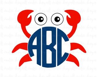 Crab Monogram Svg, Crab Svg, Circle Monogram Frame, Svg Files, Silhouette, Cricut