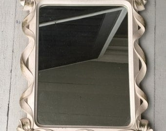 Syroco Framed Mirror Gold and white with Carved Ribbons Syroco