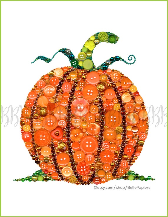Fall decorations pumpkin decorations button art pumpkin for Decoration porte classe halloween