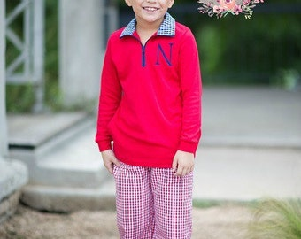 RED Boys Gingham Pants - Pajama Pants - Fall pants for boys - Holiday gift - Birthday gift - Boy's pants