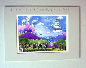 Peter Pan The Lost Boys Never land watercolor painting 11 x 14 matted print nursery fantasy art