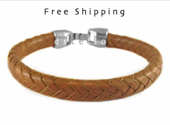 Braided bracelet, Camel bracelet, Men's leather bracelet, Leather jewelry, Gift for him, Custom made, Antique silver plated, Spanish leather