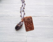 Free Spirit Jewelry - Crochet Beaded Necklace - Gemstone Pendant Necklace - Bohemian Jewelry - Gypsy Necklace - Purple Necklace